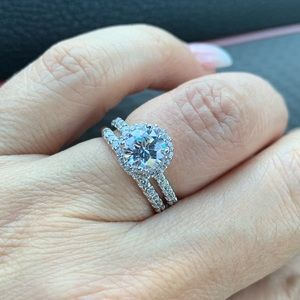 14k Solid White Gold Engagement wedding Ring Set